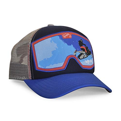 bigtruck Original Goggle Mesh Snapback Trucker Hat, Snowmobile Blue/Red