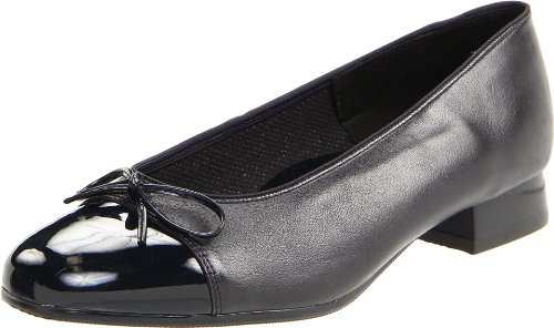 ara Women's Bel Ballet Fat,Navy Leather With Patent Tip,10 N US ()
