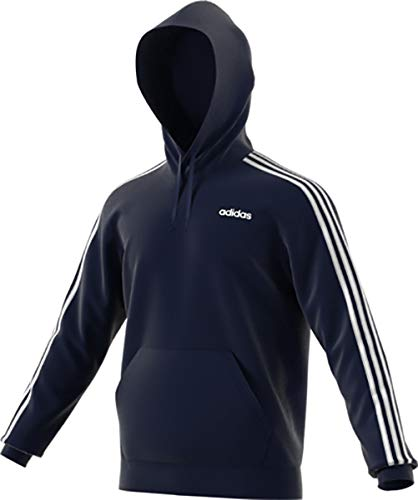 adidas Essentials Men's 3-Stripes Hoodie, Legend Ink/White, Medium