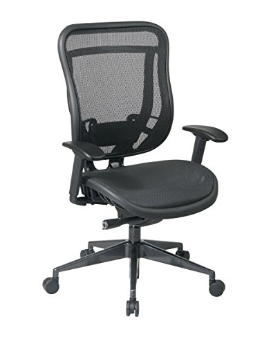 (SPACE Seating Breathable Mesh High Back and Seat, Ultra 2-to-1 Synchro Tilt Control, Seat Slider and Gunmetal Finish Executive Chair)