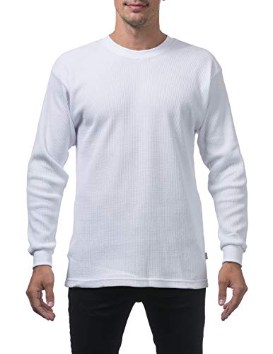 Pro Club Men's Heavyweight Cotton Long Sleeve Thermal Top, Medium, White