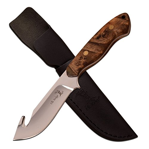 "ER-563BW-MC Elk Ridge ER-563BW 3mm Fixed Gut Hook Blade, Maple Burl Wood, 8"""