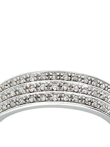 Revoni - Bague Éternité en or blanc 9 carats et diamants total 0,25 carat