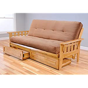 Full Austin Hardwood Futon | Suede Peat Mattress