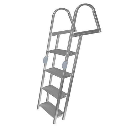 4 Step Folding Ladder, Anodized Alum, Mounting Hardware Included - Jif Marine by JIF Marine