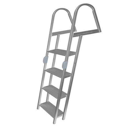 Folding Pontoon Ladder - 4 Step Folding Ladder, Anodized Alum, Mounting Hardware Included - Jif Marine