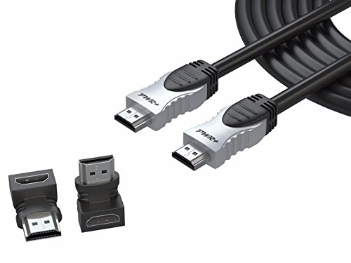 Pwr+ 100 Ft Max Length 4K HDMI Cable 2.0 with 90 Degree Adapter for PS3 PS4 Xbox 360 Apple-TV Laptop Projector Computer Monitor PC: High-Speed Ultra Full HD 2160p 1080P Ethernet 3D Pwr Box