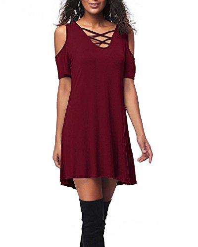 Crew Fit Loose Wine Short Women's SUNNYME 2 Sleeve T Red Shirt Tunics Neck Hem Dresses Irregular OYawzq8w