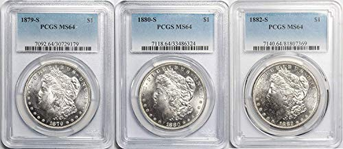 1879 S, 1880 S, 1882 S Morgan Silver Dollar Set of (3) MS-64 ()