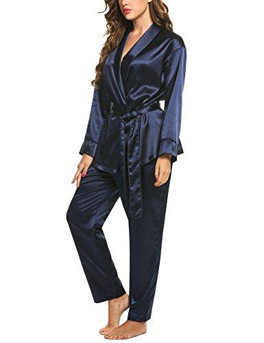 pigiameria pigiama Blu Set raso lunghe in donne Navy delle HOTOUCH a maniche 5zxP6qq