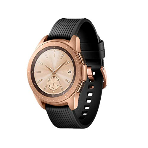(TECKMICO Galaxy Watch Bands,20mm Silicone Replacement Bands Compatible for Samsung Galaxy Watch 42mm with Rose Gold Watch Buckle for Women Men Gift (Black, Rose Gold Buckle))