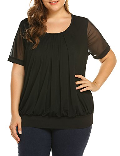 Favorite Long Sleeve Top (Women's Plus Size Long Sleeve Scoop Neck Pleated Front Fitted Blouse Tops)