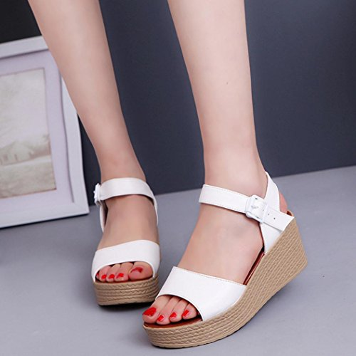 Binmer(TM) Women Fashion Summer Slope With Flip Flops Sandals Loafers Shoes White MVTUUeq