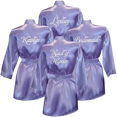 Set of 9 Satin Bridesmaid Robes-Satin Bride Robe-Embroidered Bridesmaid Robe-Monogrammed Robe-Personalized Robe-