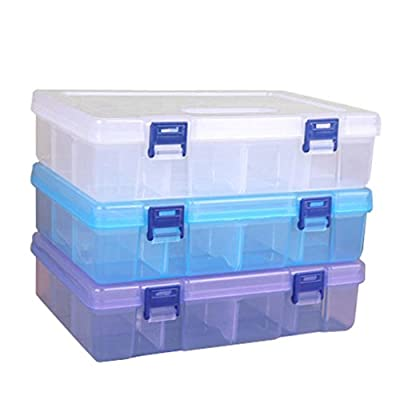 Badou 16 Grid Clear Plastic Adjustable Craft Beads Jewelry Sewing Storage Box Case Organizer Container Divider Portable Electronics Parts Gadgets Accessories Tool Storage Box