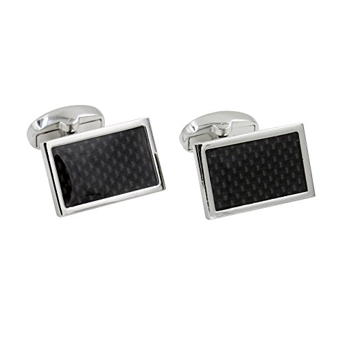 Carbon Fiber Cufflinks | Groomsmen Cuff Links | 5 Yr Warranty | Cufflinks Box Inc | Gift for Men | Black Cufflinks ()
