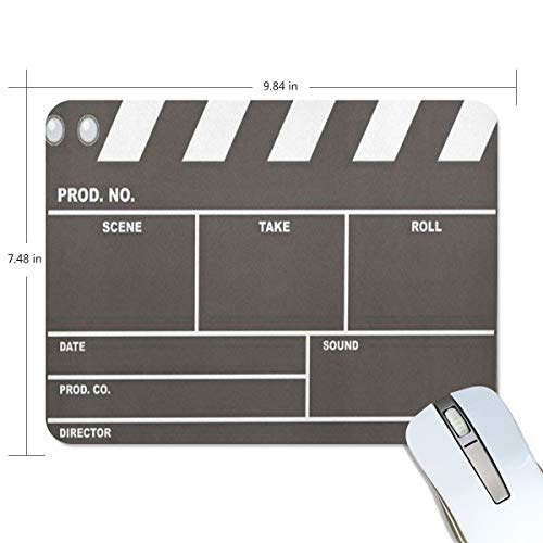 Funny Mouse Pad Personalized Movie Clapboard Rectangle Shape for Office Computer Work (9.84 x 7.48 inch) ()
