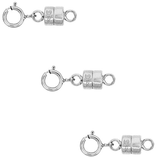 3 PACK Sterling Silver 4 mm Magnetic Clasp Converter for Light Necklaces USA, Square -