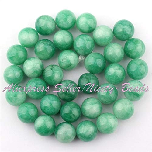 Pukido 6,8,10mm Smooth Round Beads Ball Green Candy Jades Stone Beads for Necklace Bracelets Earrings Jewelry Making 15