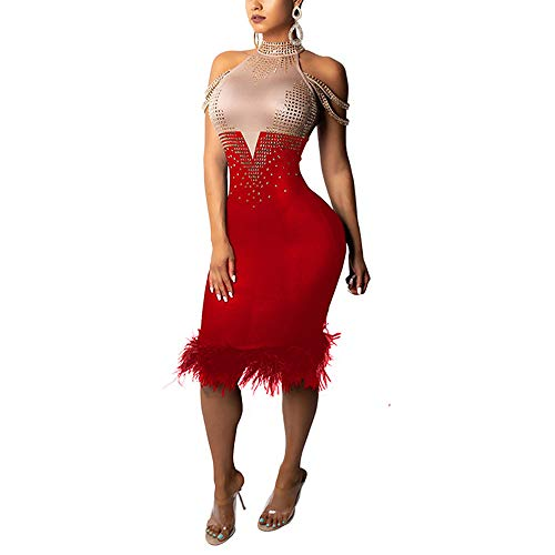 Nhicdns Womens Sexy Patchwork Sleeveless Rhinestone Halter Neck Feather Hem Bodycon Party Clubwear Midi Dress Red -