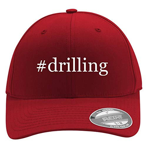 #Drilling - Men's Hashtag Flexfit Baseball Cap Hat, Red, Large/X-Large