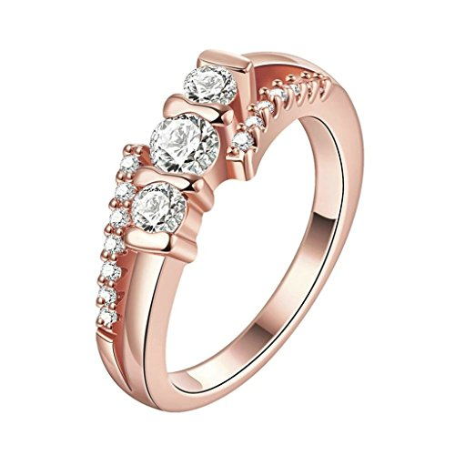 Bishilin Women's Jewelry 18K Rose Gold Plated Rings For Girls Hollow White Rose Gold CZ Size 8 24k Gold Vermeil Flower