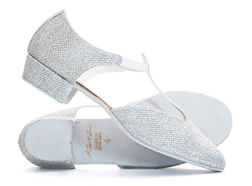 Ladies Black Pink Or White Greek Sandal Dance Teaching Jive Salsa Cerco Shoes By Katz Dancewear (Size UK 4.5, Silver Glitter)