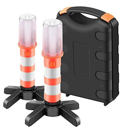 ALLOMN Linterna de Carretera, 2 PCS Luz Estroboscópica de Seguridad Tres Modos Luz de Advertencia de Tráfico Luz…