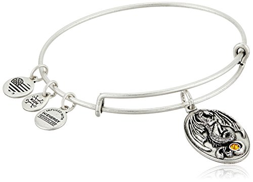 "Alex and Ani ""Path of Symbols"" Dragon Expandable Wire Silver Bangle Charm Bracelet"