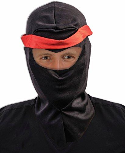 Costumes Ski Forum (Adult's Black Fabric Executioner Ski Mask Costume Ninja Hood Mask Accessory)