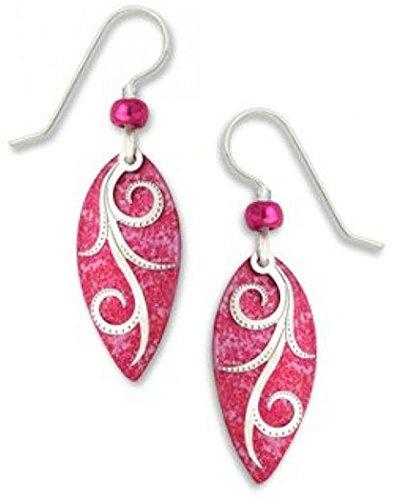 (Adajio By Sienna Sky Delicate Dark Pink Silver-tone Ribbons Oval Earrings 7401)