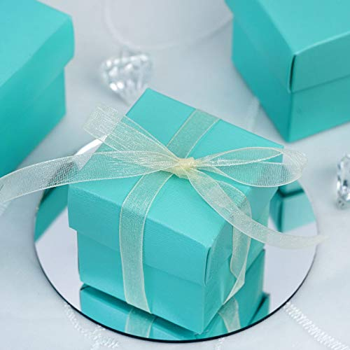 Efavormart 100 Boxes Turquoise 2 pcs Favor Boxes for Candy Treat Gift Wrap Box Party Favor Boxes for Bridal Shower Wedding -