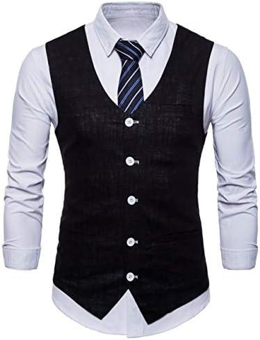 (ミドセ) ベスト メンズ ビジネス ジレベスト Vネック スーツベスト 学生 フォーマル リネン 大きいサイズ 尾錠付き 上質 スリム 結婚式 紳士 カジュアル スリムフィット 9色