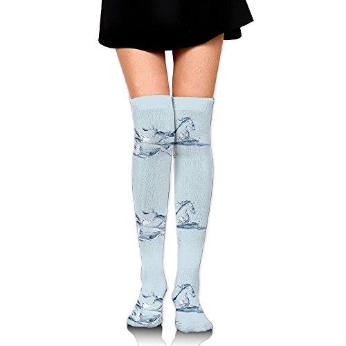 RobotDayUpUP Water Fish Ice Splash Horse Womens Long Socks,cotton Girls Skirt Stockings Knee Thigh Socks For Running Soccer Sports Dance Yoga Cheerleader Hiking Outdoor