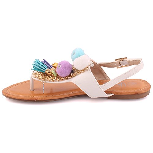 Unze Women Bestow Embroidered School Pom Pom Casual Sling Back Festival Toe Thong Beach Decorated Slider Ladies Sandals UK Size 3-8 White Q20nXswEj