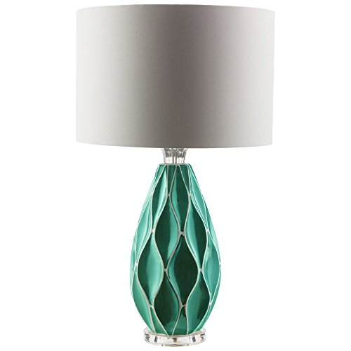 Ceramic Base and Cotton Shade Table Lamp, Teal ()