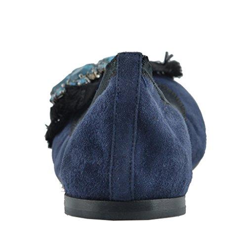 Miu Miu Scarpe Basse Da Donna Blu Scamosciato Decorate In Pelle Scamosciata Blu Scura