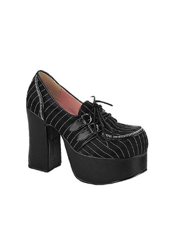Demonia By Pleaser Women's Charade-12 Pump,Black  Satin/White Pinstripe,8 M US