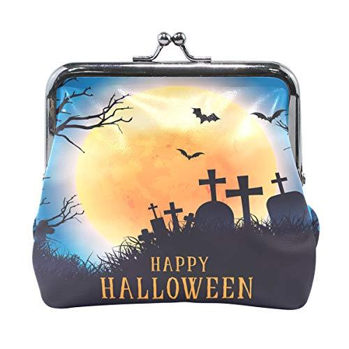 Happy Halloween Moon Zomb Cross Bats Tree Womens Wallet Card Holder Coin Purse Clutch -