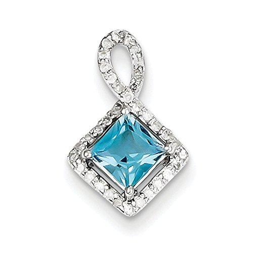 Argent Sterling diamant et topaze bleu suisse Pendentif JewelryWeb clair