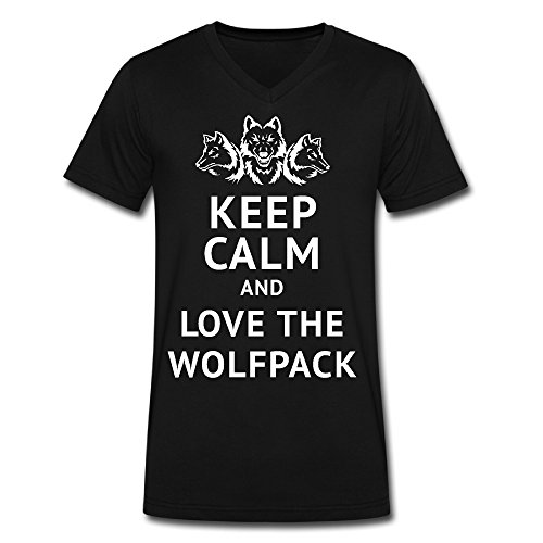 Men's Keep Calm And Love The Wolfpack V Neck T Shirt Black