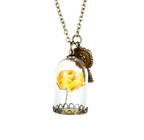 Beauty and the Beast Glass Covered Dry Rose Chain Necklace Pendant Lovers Anniversary Valentines Gift (yellow) ()
