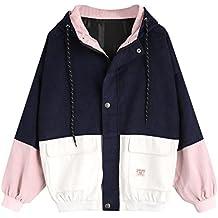 Teen Girls Zipper Outerwear, Anxinke Women Long Sleeve Corduroy Color Patchwork Windbreaker Jackets Coat with Hood