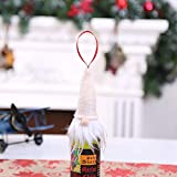 HANANei Bottle Decoration, Christmas Wine Bottle Set Santa Decoration Xmas Bottle Cap Xmas Decor (Beige)