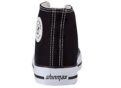Shinmax Scarpe Basse In Tela Hitops Unisex In Tela Sneaker - Scarpe Stringate Stagione Scarpe Casual Per Uomo E Donna Black-hitops