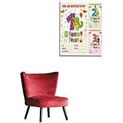 "longbuyer Wall Picture Decoration Happy Birthday Invitation Card Template with Funny Animals from to Mural 24""x32"""