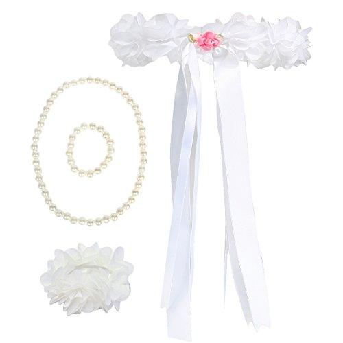 kilofly Wedding Flower Girl Headpiece, Floral Wrist Band + Necklace Bracelet Set