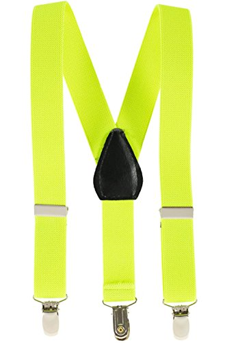 Suspenders for Kids Boys and Baby - Premium 1 Inch Suspender Perfect for Tuxedo - Lemon Yellow (30