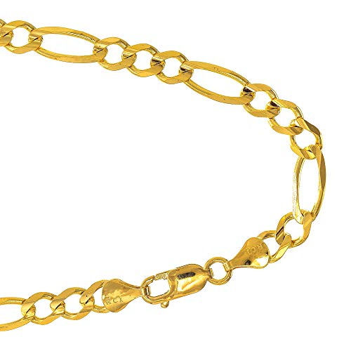 JewelStop 10k Solid Yellow Gold 4.5 mm Figaro Chain Bracelet, Lobster Claw Clasp- 8