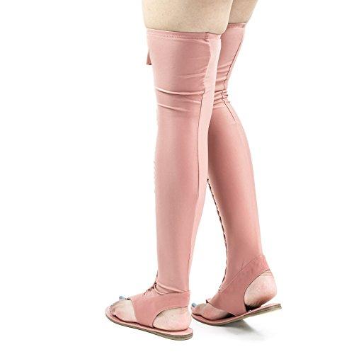 Lycra Tressé Sandale Plate Thong, Sur Le Genou Cuisse Haute Élastique Élastique Mauve Rose